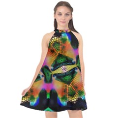 Butterfly Color Pop Art Halter Neckline Chiffon Dress  by Nexatart