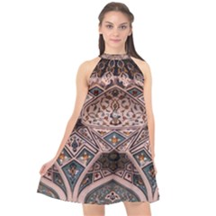 Pattern Decoration Art Architecture Halter Neckline Chiffon Dress