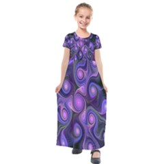 Abstract Pattern Fractal Wallpaper Kids  Short Sleeve Maxi Dress by Nexatart