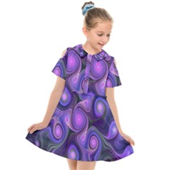 Abstract Pattern Fractal Wallpaper Kids  Short Sleeve Shirt Dress by Nexatart