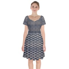 Desktop Pattern Abstract Fabric Short Sleeve Bardot Dress
