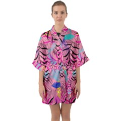 Illustration Reason Leaves Design Quarter Sleeve Kimono Robe by Nexatart