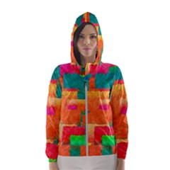 Pattern Texture Background Color Hooded Windbreaker (women) by Nexatart