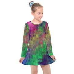 Background Abstract Art Color Kids  Long Sleeve Dress by Nexatart