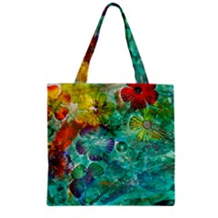 Underwater Summer Zipper Grocery Tote Bag by arwwearableart