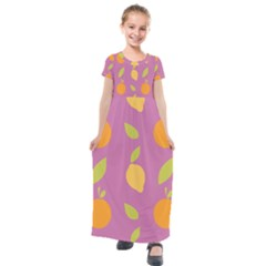 Seamlessly Pattern Fruits Fruit Kids  Short Sleeve Maxi Dress by Nexatart