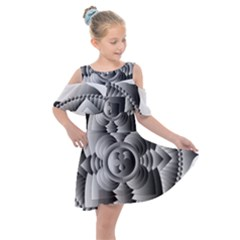 Lotus Mandala Flower Floral Kids  Shoulder Cutout Chiffon Dress by Nexatart