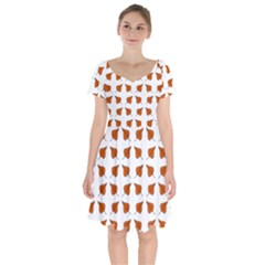 Pattern Fallen Leaves Autumn Short Sleeve Bardot Dress