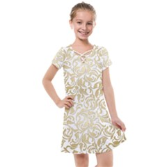 Gold Vintage Rococo Model Patern Kids  Cross Web Dress by Nexatart