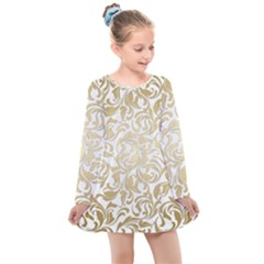 Gold Vintage Rococo Model Patern Kids  Long Sleeve Dress by Nexatart