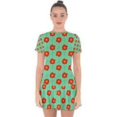 Flowers Pattern Ornament Template Drop Hem Mini Chiffon Dress