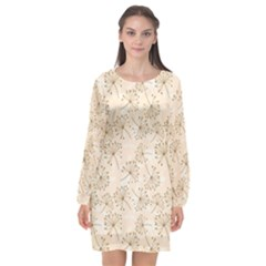 Dandelion Rose Rosa Flower Long Sleeve Chiffon Shift Dress