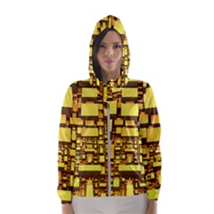 Cubes Grid Geometric 3d Square Hooded Windbreaker (women) by Nexatart