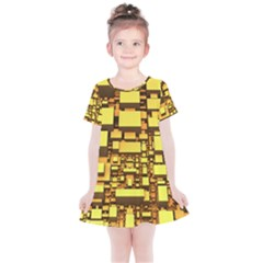 Cubes Grid Geometric 3d Square Kids  Simple Cotton Dress by Nexatart