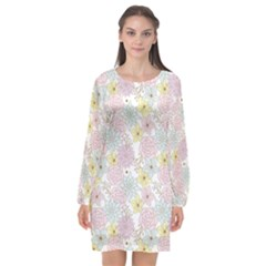 Dandelion Colors Flower Nature Long Sleeve Chiffon Shift Dress  by Nexatart