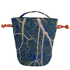 Green Leaves Blue Background Night Drawstring Bucket Bag by Nexatart