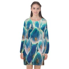 Hydrangeas Blossom Bloom Blue Long Sleeve Chiffon Shift Dress