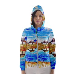 Lake Chalet Mountain Art Hooded Windbreaker (women) by Nexatart