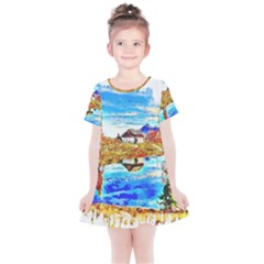 Lake Chalet Mountain Art Kids  Simple Cotton Dress