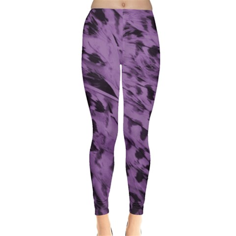 Purple Feathers Leggings