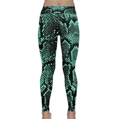 Green Snakeskin Classic Yoga Leggings by greenthanet