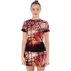 October Sunset Drop Hem Mini Chiffon Dress by bloomingvinedesign