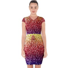 Rainbow Glitter Graphic Capsleeve Drawstring Dress  by bloomingvinedesign