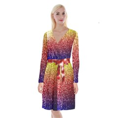 Rainbow Glitter Graphic Long Sleeve Velvet Front Wrap Dress by bloomingvinedesign