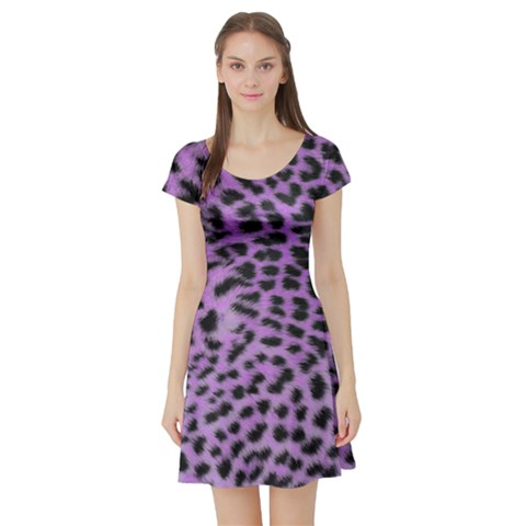 Purple Leopard Print Short Sleeve Skater Dress