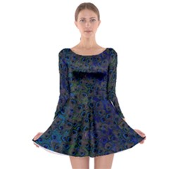 Peacock Feather Long Sleeve Skater Dress by chihuahuadresses
