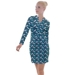 Teal Lizards Button Long Sleeve Dress by chihuahuadresses