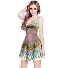 Star Flower Glass Sexy Chromatic Symmetric Reversible Sleeveless Dress by Jojostore