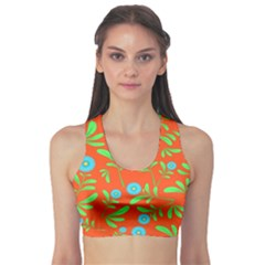 Background Texture Seamless Flowers Sports Bra by Sapixe