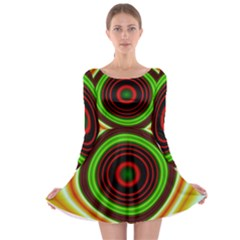 Digital Art Background Yellow Red Long Sleeve Skater Dress
