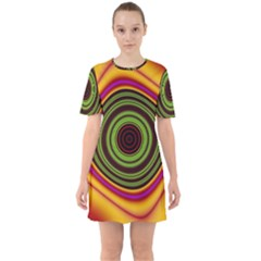Digital Art Background Yellow Red Sixties Short Sleeve Mini Dress by Sapixe