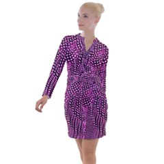 Feather Print Button Long Sleeve Dress by chihuahuadresses