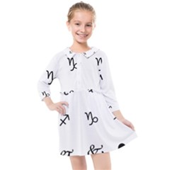 Set Of Black Web Dings On White Background Abstract Symbols Kids  Quarter Sleeve Shirt Dress by Jojostore
