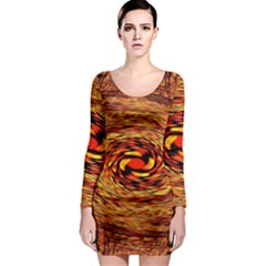 Orange Seamless Psychedelic Pattern Long Sleeve Bodycon Dress