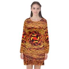Orange Seamless Psychedelic Pattern Long Sleeve Chiffon Shift Dress