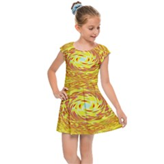 Yellow Seamless Psychedelic Pattern Kids Cap Sleeve Dress
