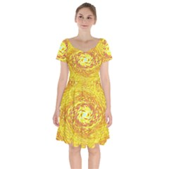 Yellow Seamless Psychedelic Pattern Short Sleeve Bardot Dress by Jojostore