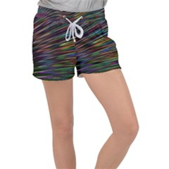 Texture Colorful Abstract Pattern Women s Velour Lounge Shorts by Jojostore