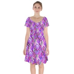 Flowers Abstract Digital Art Short Sleeve Bardot Dress by Jojostore