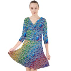 Bubbles Rainbow Colourful Colors Quarter Sleeve Front Wrap Dress by Jojostore