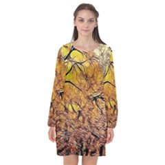 Summer Sun Set Fractal Forest Background Long Sleeve Chiffon Shift Dress  by Jojostore