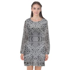 Gray Psychedelic Background Long Sleeve Chiffon Shift Dress  by Jojostore