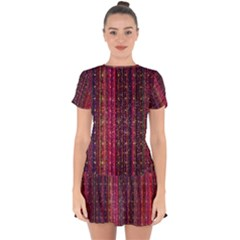 Colorful And Glowing Pixelated Pixel Pattern Drop Hem Mini Chiffon Dress by Jojostore