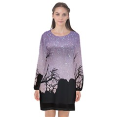Arches National Park Night Long Sleeve Chiffon Shift Dress