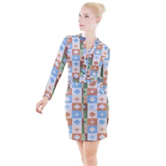 Fabric Textile Textures Cubes Button Long Sleeve Dress by Jojostore