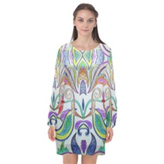 Wallpaper Created From Coloring Book Long Sleeve Chiffon Shift Dress
